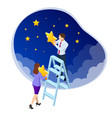 isometric reaching stars reach your dream vector image