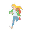 late young woman girl hurrying up vector image vector image