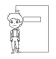 little boy student with notebook character vector image
