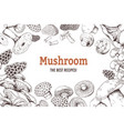 mushroom sketch background organic food sketch vector image vector image