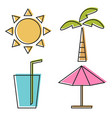 of four summer line icons vector image vector image
