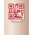 postcard with qr-code for happy valentines day vector image vector image