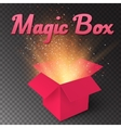 Realistic Magic Open Box Magic Gift Box with vector image vector image