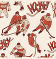retro hockey player goalkeeper in sports uniform vector image