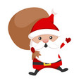 santa claus with a predent bag icon vector image
