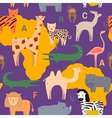 Seamless pattern with African animals in flat vector image vector image
