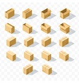Set of 18 realistic isometric cardboard boxes with vector image vector image