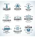 Set of Vintage Nautical Labels and Signs With vector image