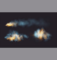 set realistic smoke and fire shapes on a black vector image vector image