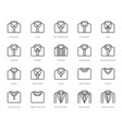 shirt collars jacket types flat line icons set vector image vector image