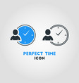 simple business icon of businessman with a clock vector image