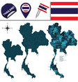 thailand with named divisions vector image vector image