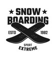 two crossed boards emblem for snowboarding club vector image vector image
