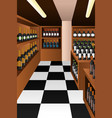 wine section in a store vector image vector image
