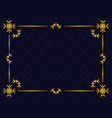 winter art deco frame golden color christmas vector image vector image