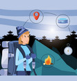 woman tourist in camping zone with set icons vector image