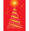 Abstract red christmas tree postcard vector image