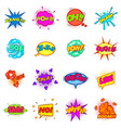 comic sound cloud set icons set cartoon style vector image