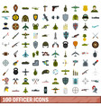 100 officer icons set flat style vector image vector image
