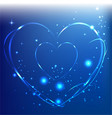 abstract lightning neon hearts on blue background vector image vector image
