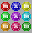audiocassette icon sign symbol on nine round vector image vector image