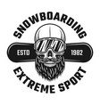 bearded skull of snowboarder in ski glasses emblem vector image vector image