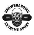 bearded skull snowboarder in ski glasses emblem vector image vector image