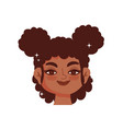 black girl curly hair afro female cartoon vector image vector image