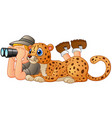 boy with binoculars and animal leopard vector image