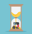 business man working hard in hourglass vector image