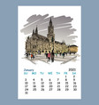 calendar sheet january month 2021 year berlin vector image