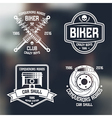 Car repair and biker club emblems vector image vector image