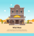 Cartoon building saloon on a landscape background vector image