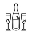 champagne bottle glasses vector image vector image