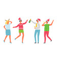 christmas partying people dancing and drinking vector image vector image