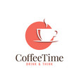 coffee cup logo sun on white background vector image vector image