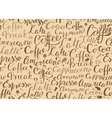 Coffee seamless pattern with coffee words in retro vector image