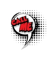 Comic text call me pop art bubble vector image vector image
