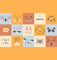 cute animal portraits hand drawn happy animals vector image vector image