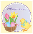 easter card template with cake and flowers vector image