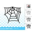 editable stroke spider web thin line icon vector image
