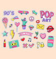 fashion pop art patch stickers girls cartoon cute vector image vector image