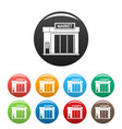 gas station market icons set color vector image vector image