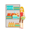 Girl Shopping For Drinks Shopping Mall And vector image vector image