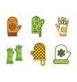 gloves icon set color outline style vector image vector image