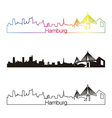 Hamburg skyline linear style with rainbow vector image vector image