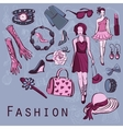 Hand drawn fashion background vector image vector image