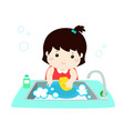 happy girl washing dish on white background vector image vector image
