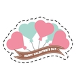 happy valentine day card balloons heart and ribbon vector image