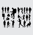 hiker people activity silhouettes vector image vector image